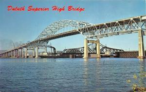 Duluth Minnesota-Superior Wisconsin~High Bridge~Ships & Crane~1971 Postcard