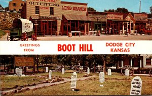 Kansas Dodge City Boot Hill Greetings Showing Front Street and Cemetery
