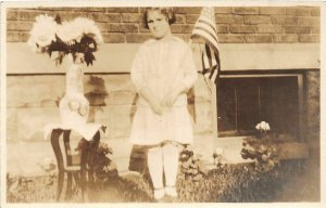 G94/ Patriotic Postcard c1916 Decoration Day Girl RPPC Flag Flowers 13