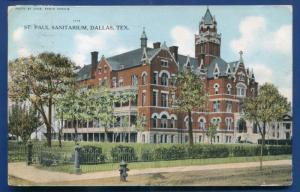 St Paul Sanitarium Dallas Texas tx 1908 postcard