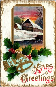 XMAS GREETINGS - Christmas - Bells Holly Embossed - Vintage - POSTCARD PC POSTED