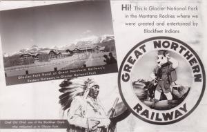 RP: Chief Glacier National Park, Hotel, Indian, Railroad Symbol, Montana, 20-30s