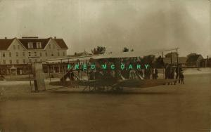1912 Old Orchard Beach ME RPPC: Burgess-Wright Biplane Before The Atlantic Hotel
