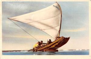 Brazil Jangada Sailboat Returns from Fishing Vintage Postcard J79684