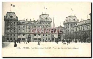 Paris - 4 - Place du Parvis Notre Dame - The Barracks of the City - Old Postcard