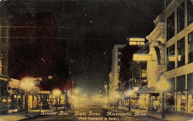 Minneapolis~Nicollet Avenue Night Lights~Browning King & Co~Ticket Office~1912