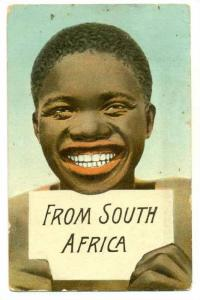 African Boy Holding A Sign That Says: From South Africa, Johannesburg, S. Afr...