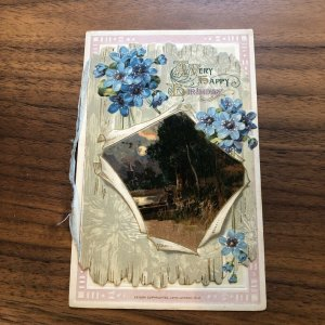 A HAPPY BIRTHDAY Postcard - EMBOSSED - Country Scene - Very Clean & Unposted