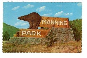 Manning Park Entrance Sign, British Columbia, Brown Bear Sculpture