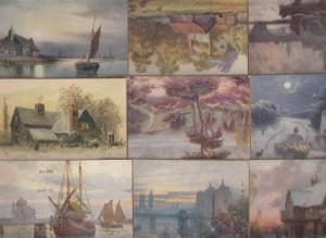 Picture Postcards Early Panel Cards by C W Faulkner London Artist painted x 9