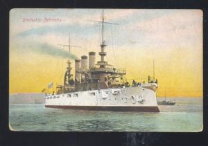 UNITED STATES NAVY BATTLESHIP USS NEBRASKA VINTAGE POSTCARD MILITARY SHIP BOAT
