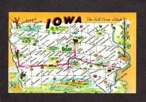 Greetings From Iowa State Map Interstate Highway 80 Oakland Postcard Des Moines