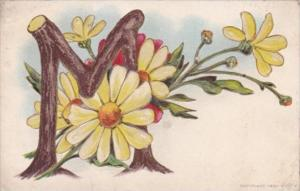 Letter Card M With Beautiful Flowers 1912