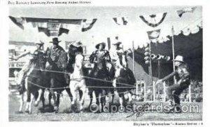 Ray Ramsey Lassoing Five Racing Rodeo Horses, Real Photo Western Cowboy Writi...