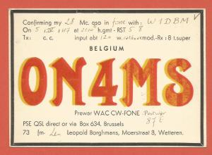 QSL AMATEUR RADIO CARD – BRUSSELS, BELGIUM – 1947