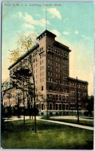 Detroit, Michigan Postcard New YMCA Building Boarding House Hotel 1910s Unused