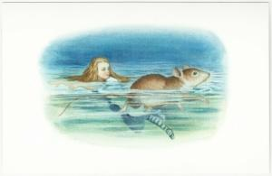 Alice in Wonderland Mouse Swimming in Pool of Tears Postcard #1