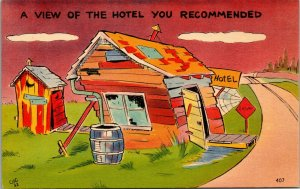 A VIEW OF THE HOTEL YOU RECOMMENDED, COMIC.funny humor linen  POSTCARD