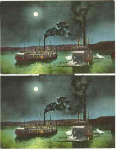 pc2763 postcard Two Steamers At Night MOBSC TWO same