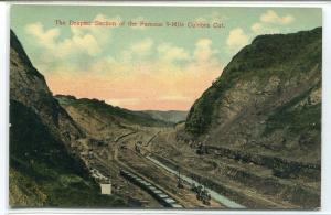 Deepest Section Culebra Cut Panama Canal 1910c postcard