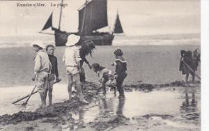 KNOCKE S/MER, West Flanders, Belgium, PU-1911; La Plage, Kids Playing, Sail S...