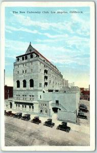Los Angeles, California Postcard New University Club Street View Kropp c1930s