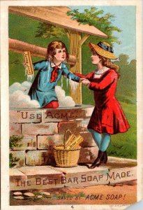 TRADE CARD ACME BEST BAR SOAP - BOY GETTING OUT OF A WELL - Trade Card