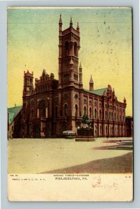 Philadelphia PA-Pennsylvania Masonic Temple Exterior Vintage c1909 Postcard
