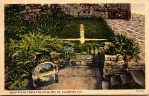 Florida St Augustine Fountain Of Youth and Cross 1938 Curteich