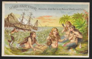 VICTORIAN TRADE CARD Ayers Hair Vigor Four Mermaid Using Product