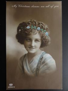 Christmas: Young Lady, My Christmas dreams are all of YOU c1913 RP Pub by E.A.S.