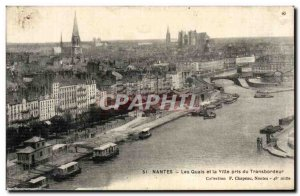 Old Postcard Nantes Quays and the city took Transporter