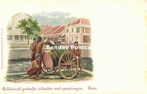 indonesia, JAVA, Punished Men, Water Cart (1899) Artist Signed Van der Heiden