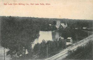H11/ Red Lake Falls Minnesota Postcard 1912 Milling Company Mill River