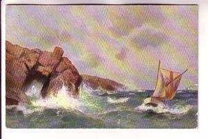 Sailboat in Rough Waters, Cliff, MK Art Series, Upper Port LaTour Nova Scotia...