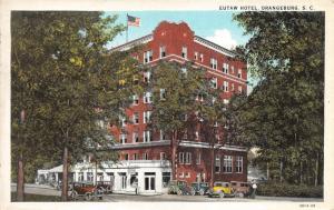 Orangeburg South Carolina~Eutaw Hotel~Drugstore~Vintage Cars~1931 Postcard