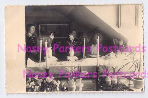 RPPC Post Mortem Beautiful Lady Women Viewing Coffin Flowers Candles Sunlight