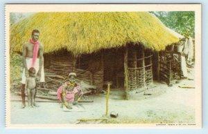 TRINIDAD ~ NATIVES FAMILY & Their GRASS SHACK  c1940s  Postcard