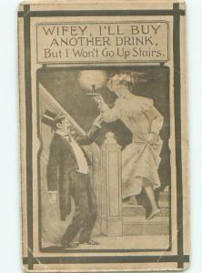 Pre-Linen Comic WIFE SEES MAN COMING HOME LATE FROM THE BAR AB8923