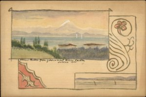 Victoria BC Mt. Baker From Gov't House Garden HANDMADE Hand Colored Postcard