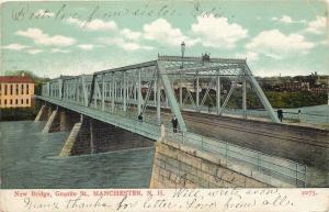 Manchester New Hampshire~Nice New 4-Span Metal Granite Street Bridge c1906