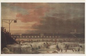 The Frozen Thames in 1677 London River Painting Postcard