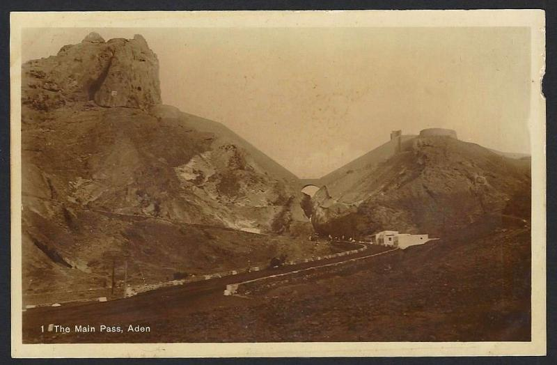 Aden The Main Pass real photo postcard by Dinshaw & Co. c.1910