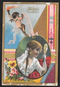 VICTORIAN TRADE CARD Elite Toilet Soap Cupid Pretty Lady Dress Flowers c1882