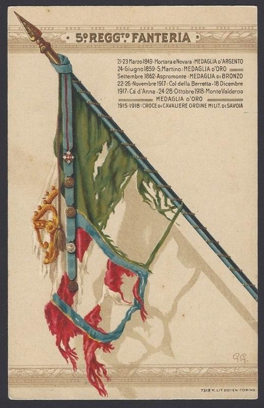 Italy early 1900s Military postcard 5 REGGIMENTO FANTERIA