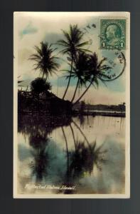1906 Honolulu Hawaii RPPC Real Picture Postcard Reflected Palm Trees