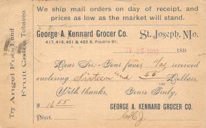 St Joseph MO~George A Kennard Grocer to Howe NE~Angel Food~Tobacco~1893 Postal