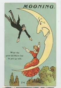 POSTCARD ~ Romance ~ Old Man in Moon has to put up with ~ ZIM Artist Signed