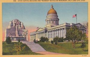Utah Salt Lake City State Capitol Building and Mormon Battalion Monument Curt...