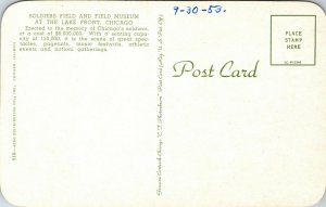 Vintage Postcard Chicago Stadium Soldier Field Bears Bulls Blackhawks Sports